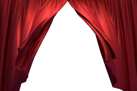 3D realistic illustration of the red stage curtains waving with the wind Stockfoto