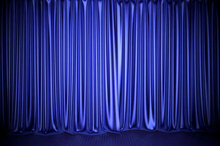 Blue theater or cinema stage curtain 3D illustration