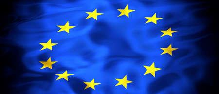 Flag of the European Union panoramic 3D illustration