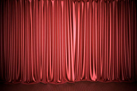 Red theater or cinema stage curtain 3D illustration Stockfoto