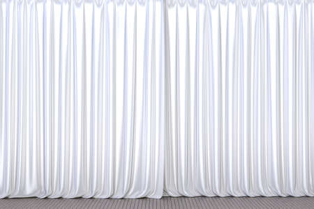 White theater or cinema stage curtain 3D illustration