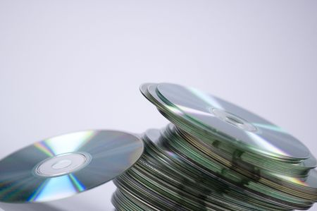tilted: cds tilted to the right Stock Photo