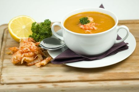 seafood soup and ingredients photo