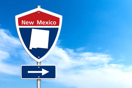 Road trip to New Mexico, Red, white and blue interstate highway road sign with word New Mexico and map of New Mexico with sky background Imagens