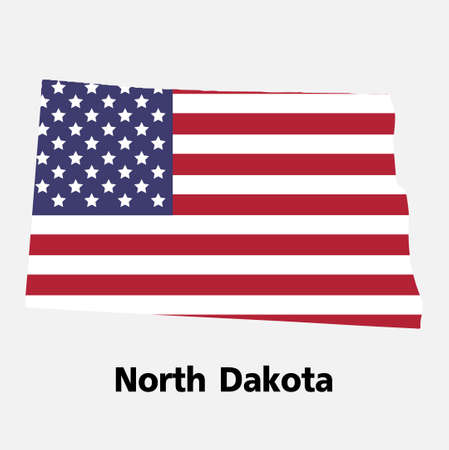 United States of America,Vector,North Dakota map vector illustration