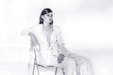 brunete: Model, White, Clothes Posing Fashion Light Brunete Blonde