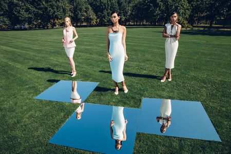 mirror, lady, model, woman fashion shooting editorial clothes blue mixed race trees