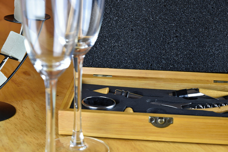 Set of wine in a wooden box. Two glasses of wine. Stock Photo