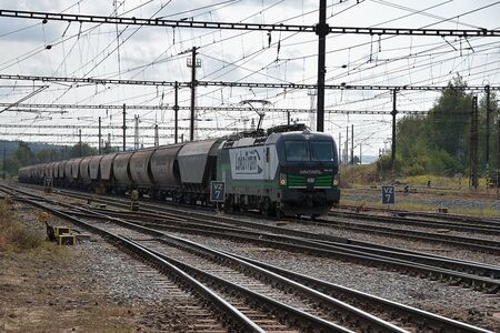 Ceska Trebova, Czech Republic - 20.4.2019: Freight train company LokoTrain. Railway junction and railway station Ceska Trebova