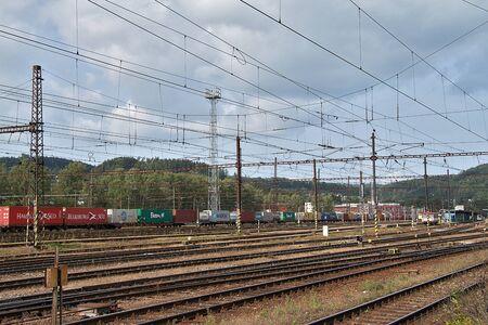 Ceska Trebova, Czech Republic - 20.4.2019: Railway junction and railway station Ceska Trebova. Cargo train