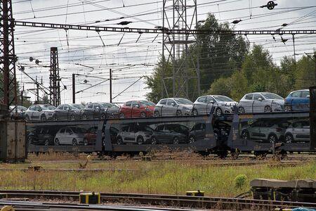 Ceska Trebova, Czech Republic - 20.4.2019: Train wagons for transporting cars. Railway junction and railway station Ceska Trebova