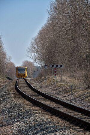 Kvetna, Czech Republic - 20.4.2019: Passenger train on the route Policka - Svitavy. Czech Railways train companies, Regionova, locomotive 914 166-4