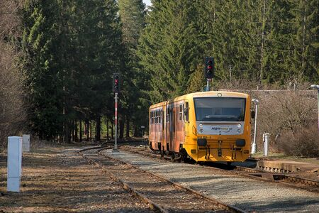 Kvetna, Czech Republic - 20.4.2019: Passenger train on the route Policka - Svitavy. Kvetna Train Station. Czech Railways train companies, Regionova. locomotive 914 166-4