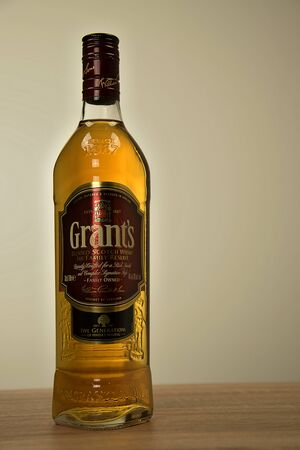 Svitavy, Czech Republic - 20.4.2019: Bottle of Scotch whiskey Grants on the table. Whiskey alcoholic drink