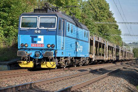 Svitavy, Czech Republic - 20.4.2019: Freight train with car wagons, CD Cargo Редакционное