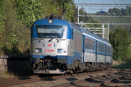 Svitavy, Czech Republic - 20.4.2019: Passenger train on the route Ceska Trebova - Brno. Train companies Czech Railways locomotive 380 010-9 Редакционное