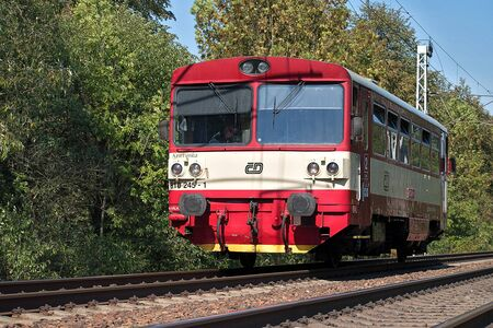 Svitavy, Czech Republic - 20.4.2019: Passenger train on the route Ceska Trebova - Brno. Train companies Czech Railways locomotive 810 245-1.