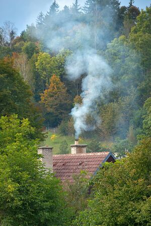 Smoke rises from the chimney on the house. Heating season. Roof with smoking chimney and trees in autumn