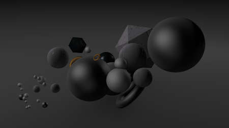 Black background with balls.  3d rendering, 3d illustration. Фото со стока - 132952937