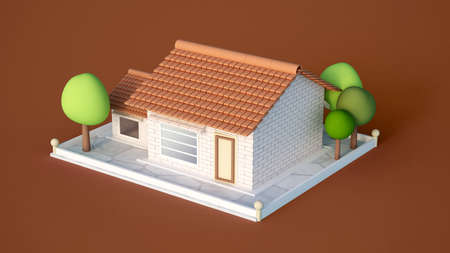 House, cottage with tiles of white brick and trees. 3d rendering, 3d illustration. 版權商用圖片
