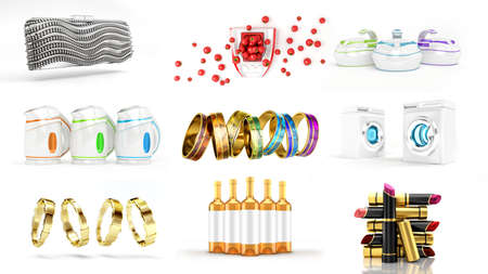 Collection of gifts for the holidays, New Year, Christmas, sale, Black Friday, cyber Monday. 3d rendering, 3d illustration. Фото со стока