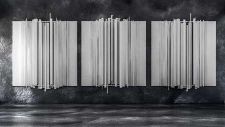 Beautiful studio interior installation room texture stone. 3d rendering, 3d illustration. Banque d'images - 133059512