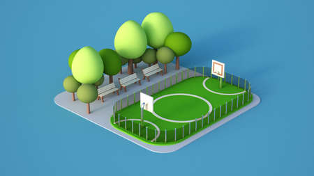 A model of a sports field with a football field.  3d rendering, 3d illustration.