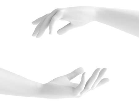 White background 3d hand gesture. 3d rendering, 3d illustration.