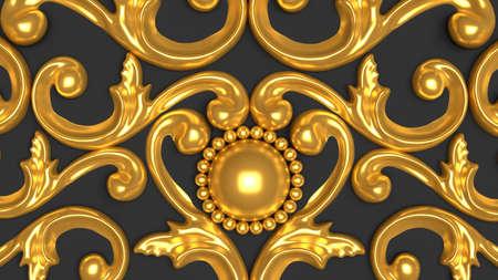 Luxury gypsum decoration element, wall concept stucco, interior architecture pattern. 3d rendering, 3d illustration. Stock fotó