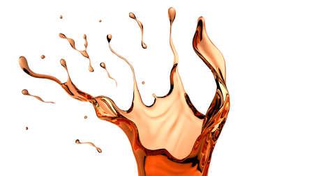 Isolated tea splash, 3d rendering 3d illustration.