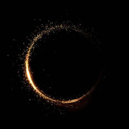 Maand van goud deeltje zwarte background.3d rendering 3d illustratie.