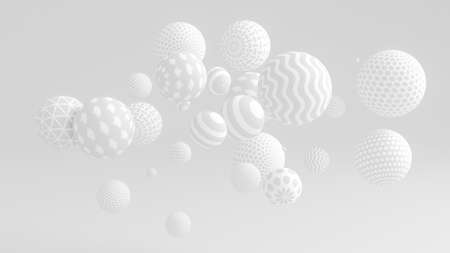 White background with balls. 3d rendering, 3d illustration. Archivio Fotografico - 133152601