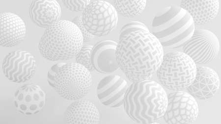 White background with balls. 3d rendering, 3d illustration. Archivio Fotografico - 133151912