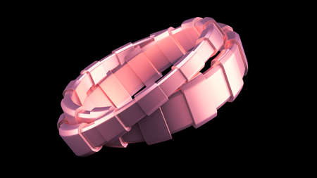 Fashionable bracelet, decorated with a precious stone, glass.3d rendering 3d illustration.