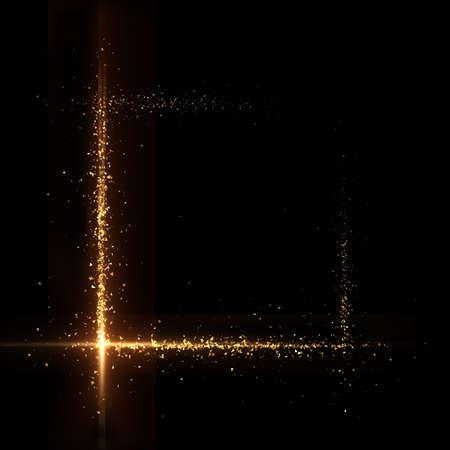 Banner blank gold particle black background. 3d rendering 3d illustration.