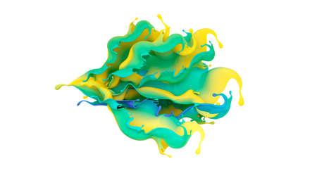 Beautiful multi-color splash of liquid . 3D illustration, 3D visualization.