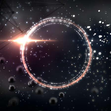 Fantastic abstract black space background. 3d rendering, 3d illustration.