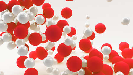 Abstract 3d background with balls of red and white. 3d illustration. 스톡 콘텐츠 - 133558138