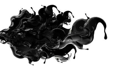 Splash of black liquid. 3d rendering, 3d illustration.
