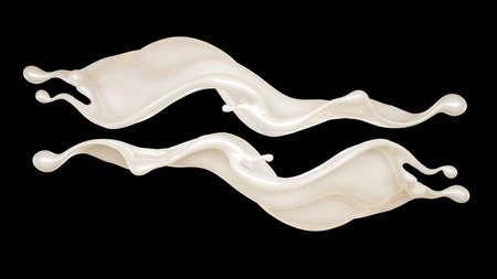 Splash of thick white liquid on a black background. 3d rendering, 3d illustration.