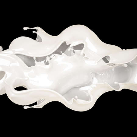 Splash of thick white liquid on a black background. 3d rendering, 3d illustration. Stock fotó - 133426158