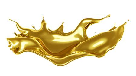 A splash of thick, golden liquid. 3d rendering, 3d illustration. Stock fotó
