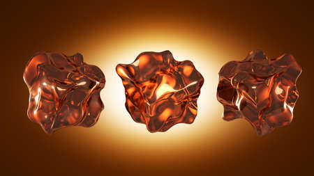 Ice cubes are brown. 3d rendering 3d illustration.