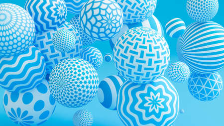 Blue background with balls. 3d rendering, 3d illustration.