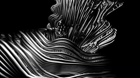 Black stylish metallic black background with lines and waves. 3d rendering 3d illustration.