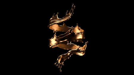 Luxurious, mysterious, vintage, abstract splash of liquid gold on a black background. 3d rendering  3d illustration.
