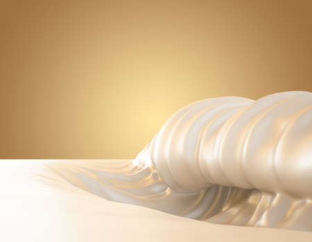 Sea of milk, splash of milk on a white background, natural, yogurt, sour cream, thick, liquid, paint. 3d rendering 3d illustration. Stock fotó
