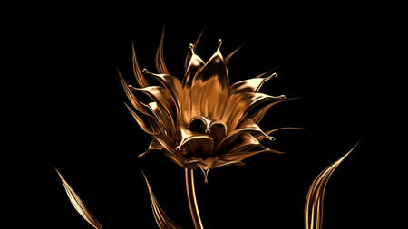Luxurious, mysterious, vintage, abstract splash of liquid gold on a black background. 3d rendering 3d illustration. Reklamní fotografie