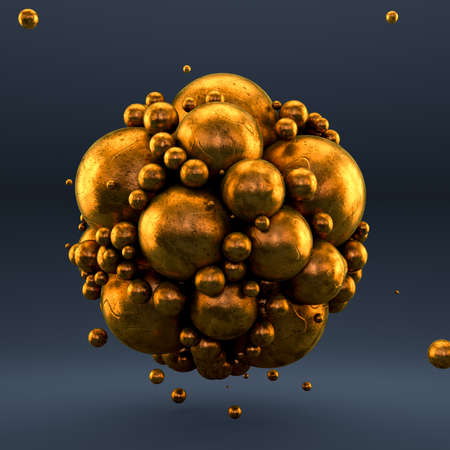 Gold gray background with balls, geometry, abstraction. 3d rendering 3d illustration.