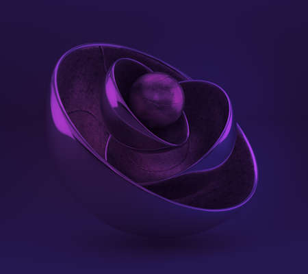 Purple geometric background with balls. 3d rendering 3d illustration. Banco de Imagens